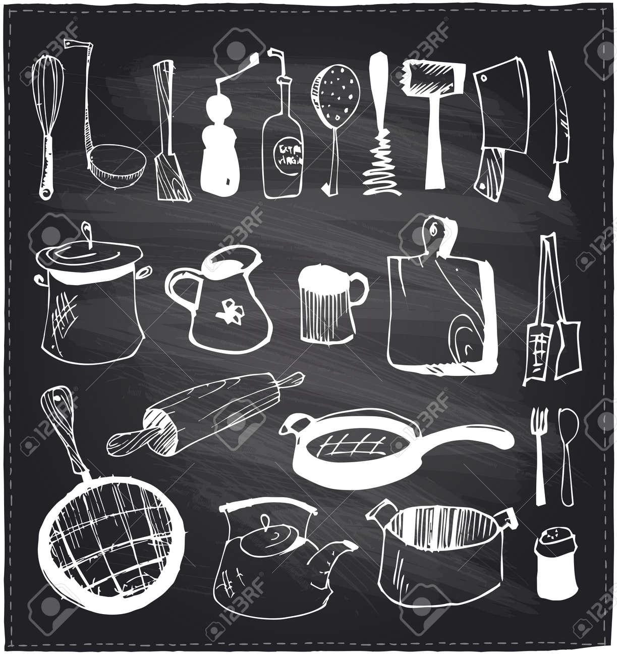Chalkboard Kitchen Hand Drawn Set Of Kitchen Utensils On A Chalkboard Background