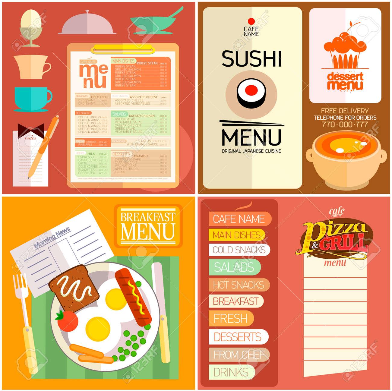 flat design restaurant menu, sushi menu, breakfast menu, dessert