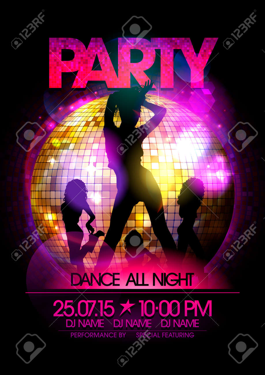 dance party poster with go go dancers girls silhouette and disco