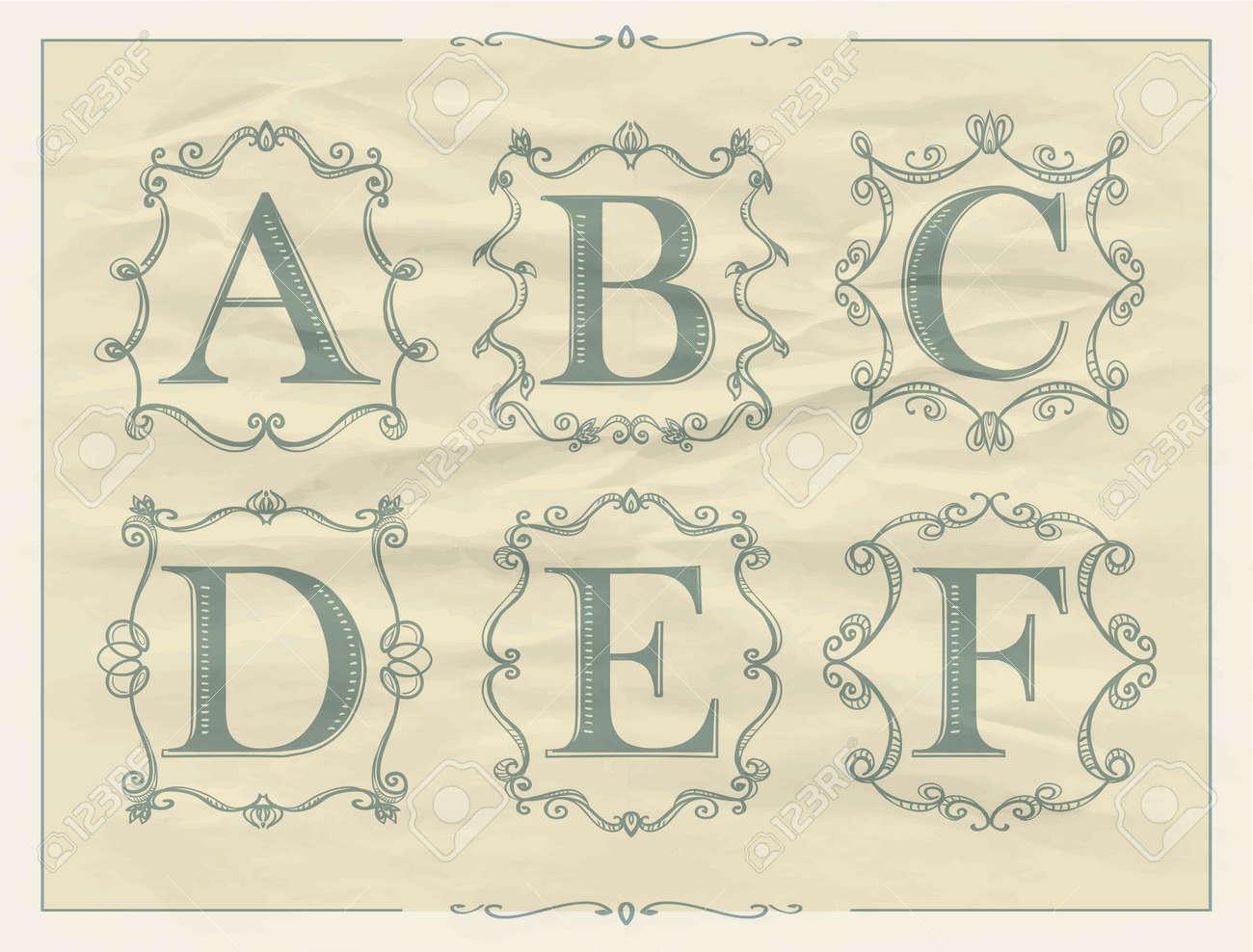 Cartas Vintage Caligráficas En Marcos Monograma Retro, Alfabeto ...