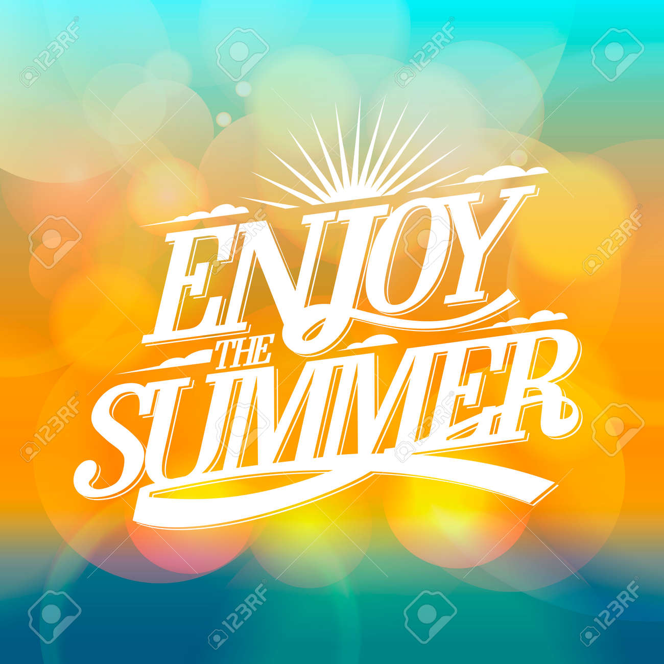 Enjoy The Summer Bright Poster On A Bokeh Backdrop Happy Vacation Card Stock Photo