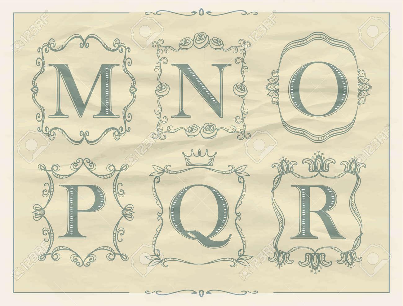 Letras Caligráficas En Marcos Monograma Retro, Alfabeto T - M, N, O ...