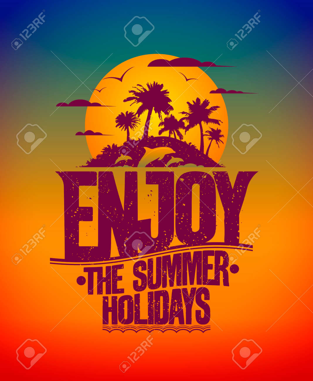 Happy Vacation Card With Tropical Island At Sunset And Silhouettes Of Dolphins Enjoy The Summer