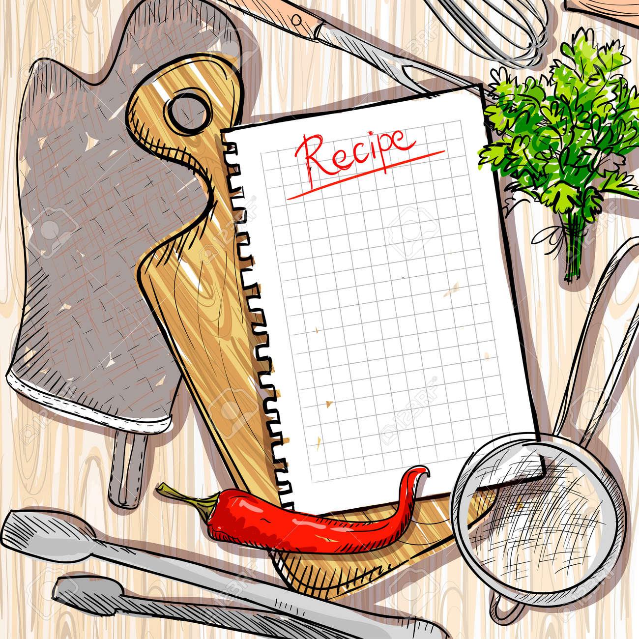 archivio fotografico tagliere e utensili da cucina con la lista ricetta vuota su un tavolo di legno sfondo