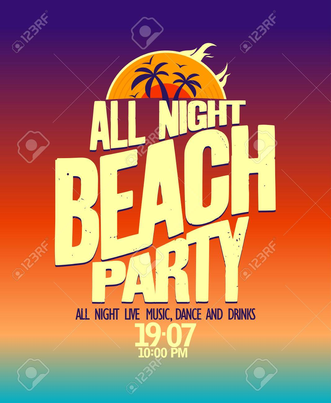 All Night Beach Party Banner. Royalty Free Cliparts, Vectors, And ...