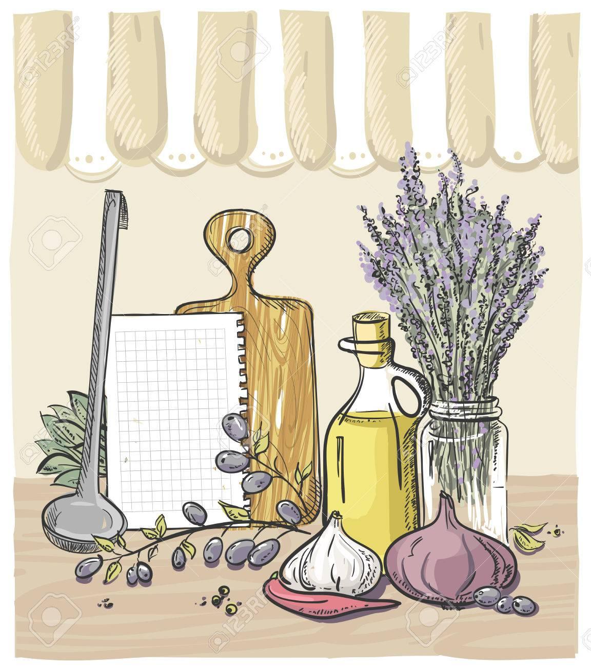 archivio fotografico vector graphic rurale ancora disegno life con verdure utensili da cucina profumi di lavanda e una bottiglia di olio di oliva con