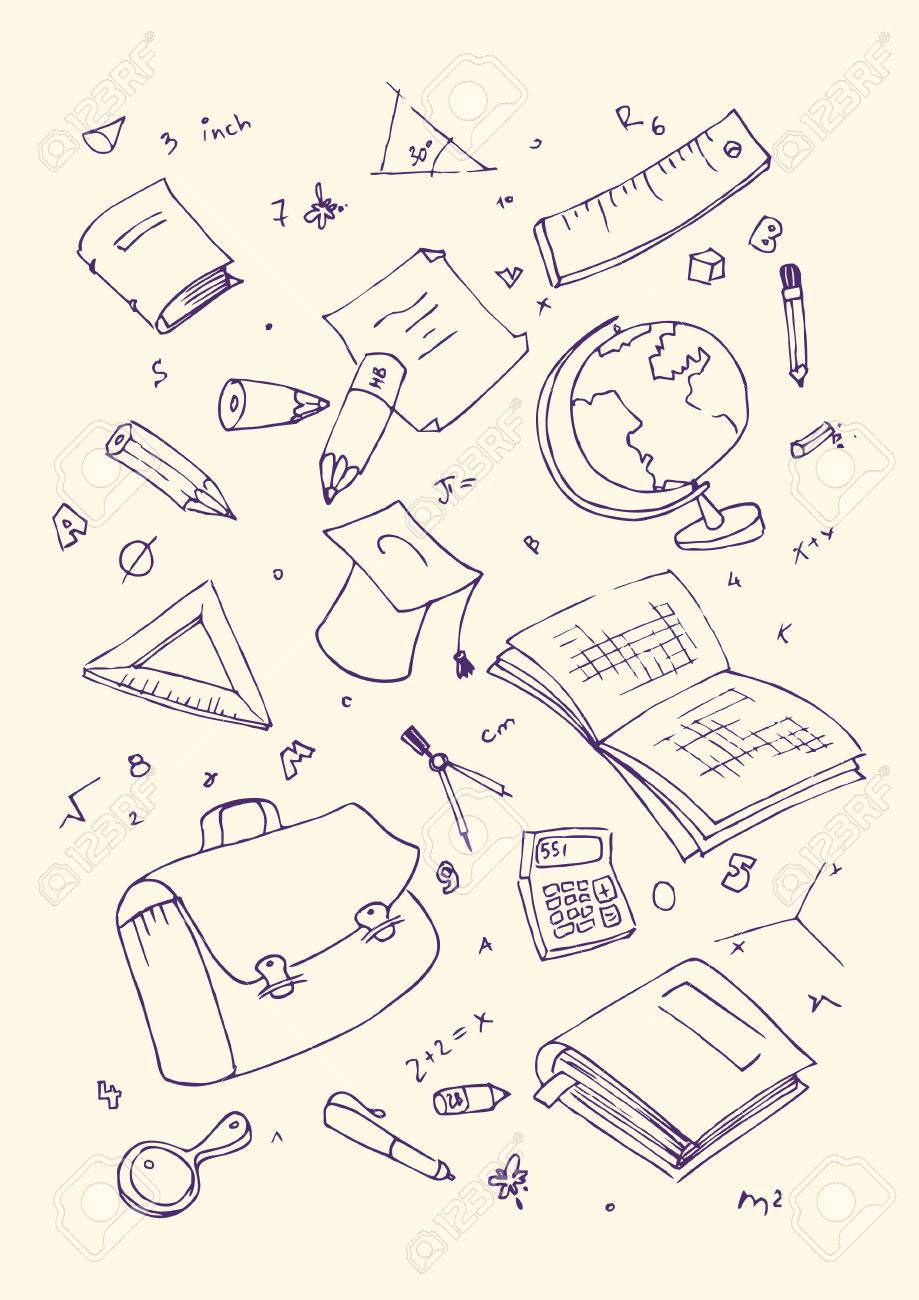 Vector illustraition of school subjects, hand drawn design set. - 42907506