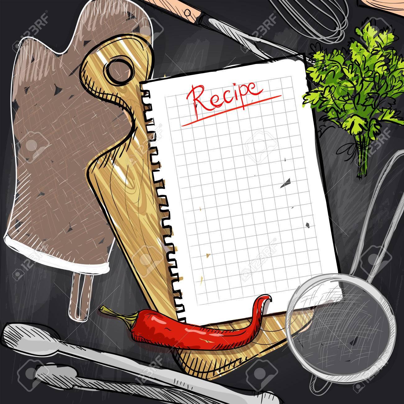 archivio fotografico disegno lavagna con tagliere e utensili da cucina e lista delle ricette vuoto