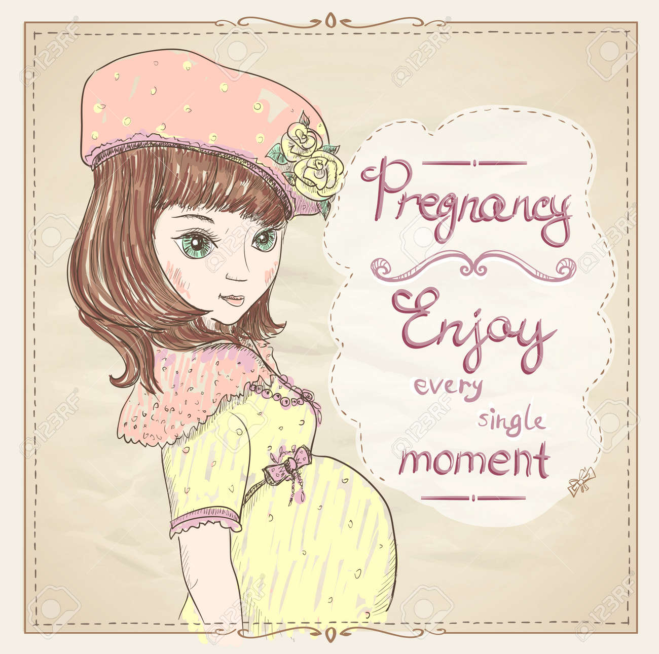 Pregnancy quotes card. Enjoy every single moment, graphic portrait..