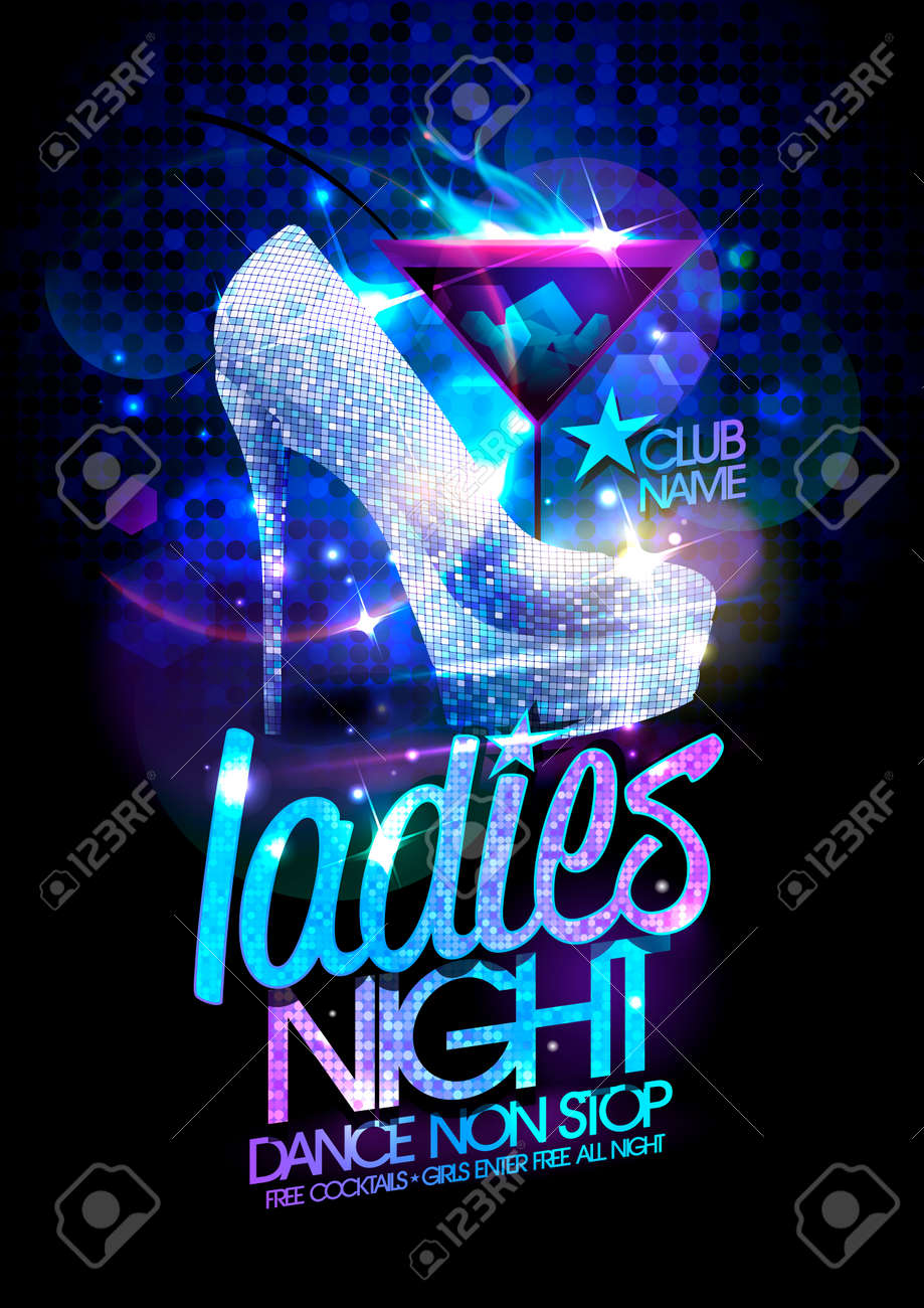 Ladies night poster illustration with high heeled diamond crystals shoes and burning cocktail. - 44626350