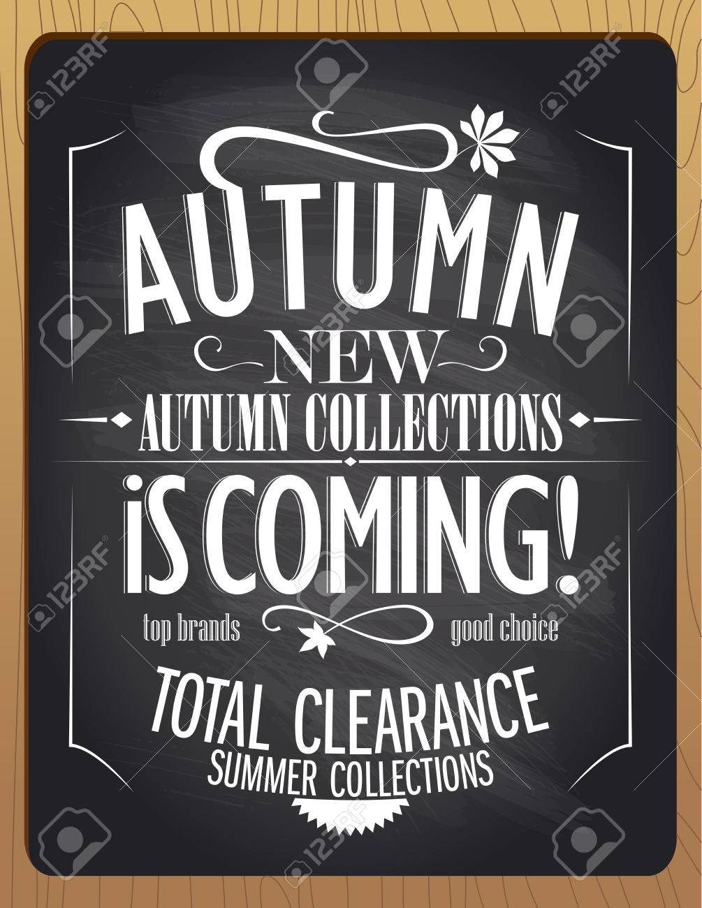 New autumn collections is coming, blackboard chalk vector illustration. - 44586052