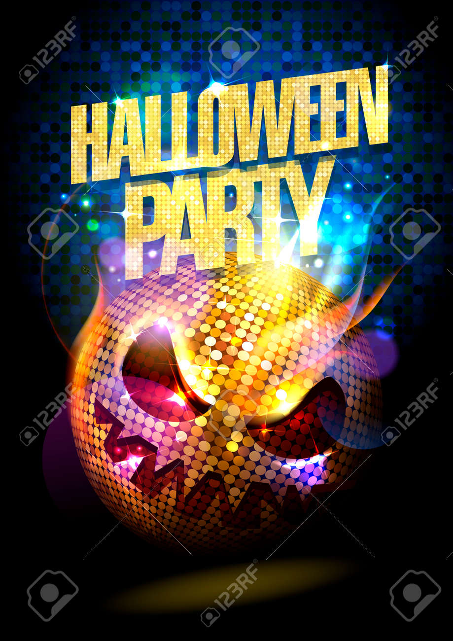 Halloween Disco.Halloween Party Poster With Spooky Disco Ball