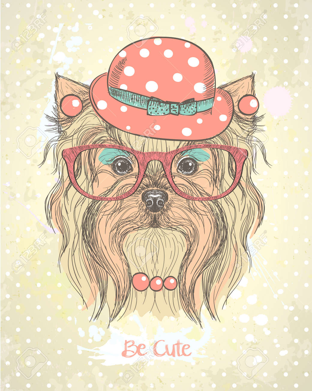 Cute Hand Drawn Card With Fashion Yorkshire Terrier Girl Dressed