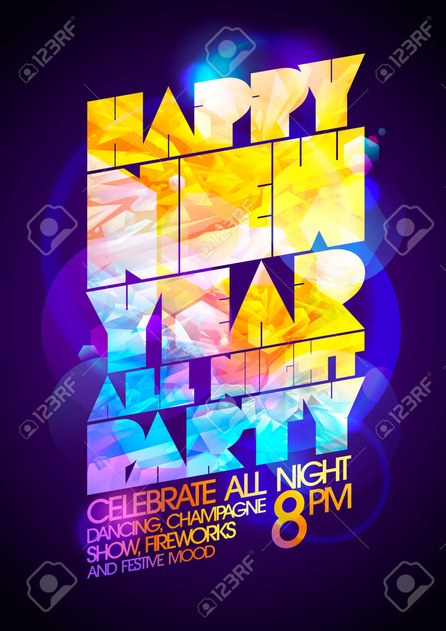 happy new year all night party art calligraphic design 80 s rh 123rf com all stars vector all sectors in construction