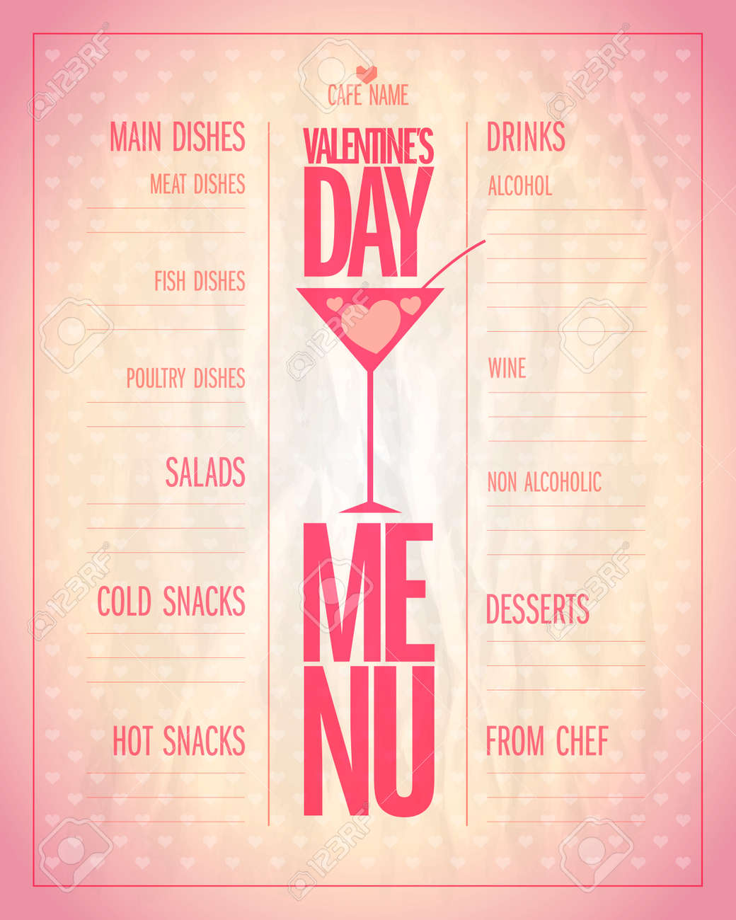Light Valentine Day Menu List With Place For Dishes And Drinks