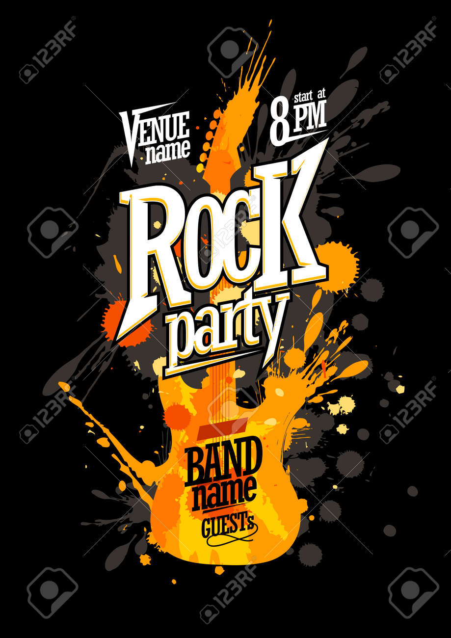 Rock party poster design with electro guitar made from blots - 53742674