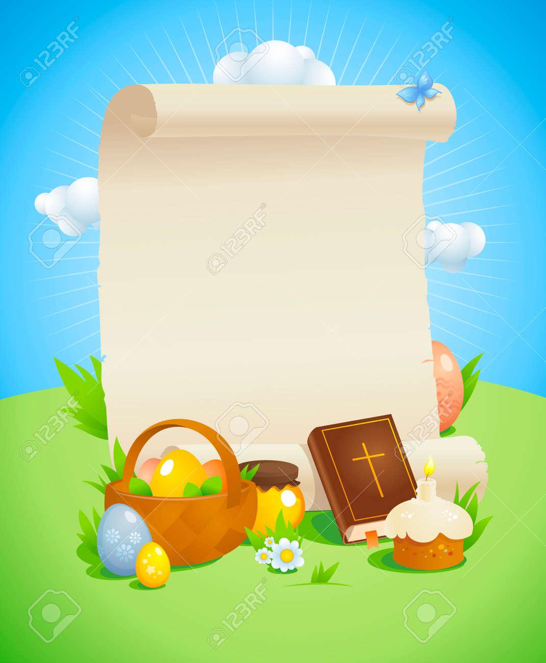 Diseño De Pascua Con El Rollo De Papel Vacía Contra El Paisaje De ...