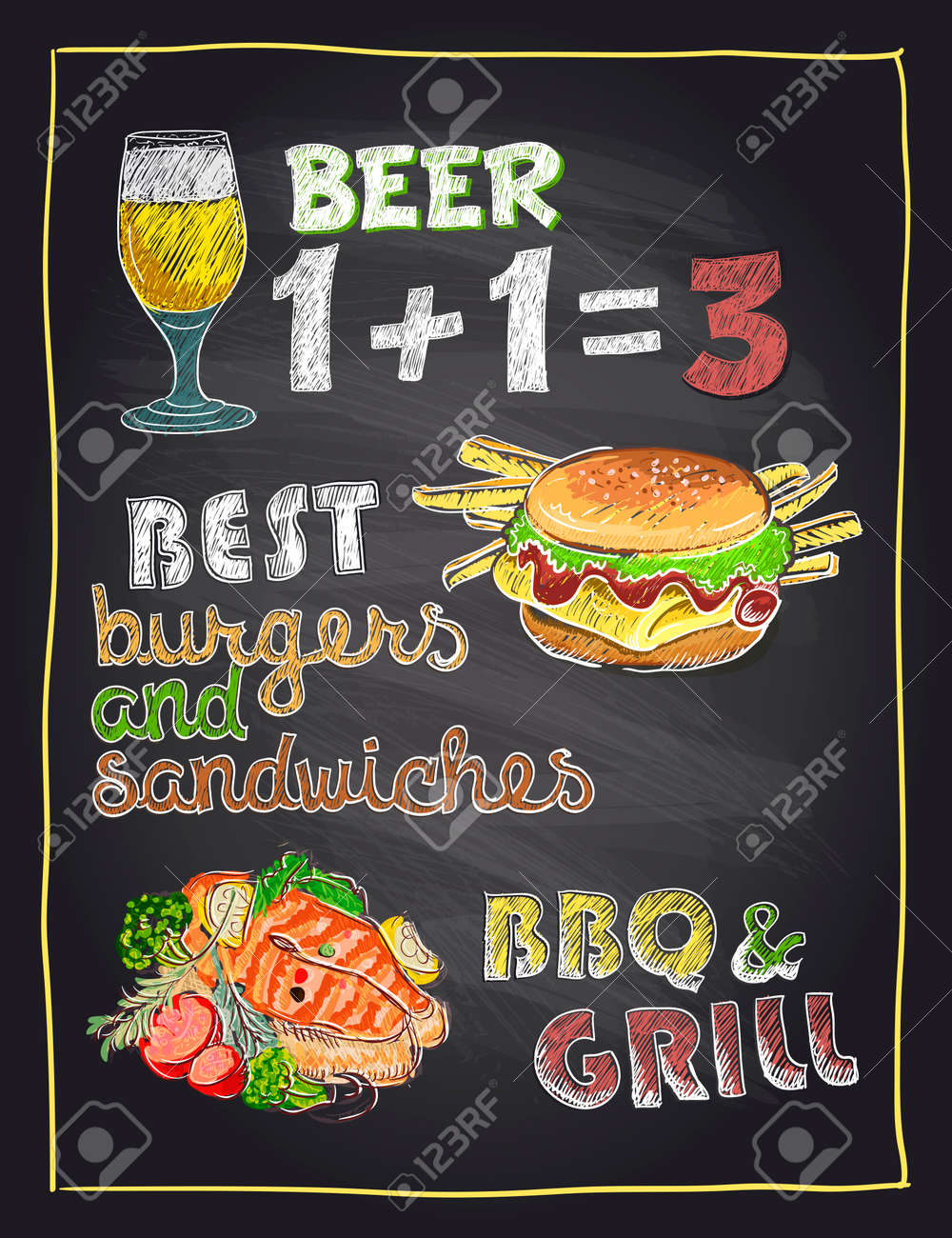 Chalkboard Hand Drawn Menu Sign With Beer Burger And Grilled