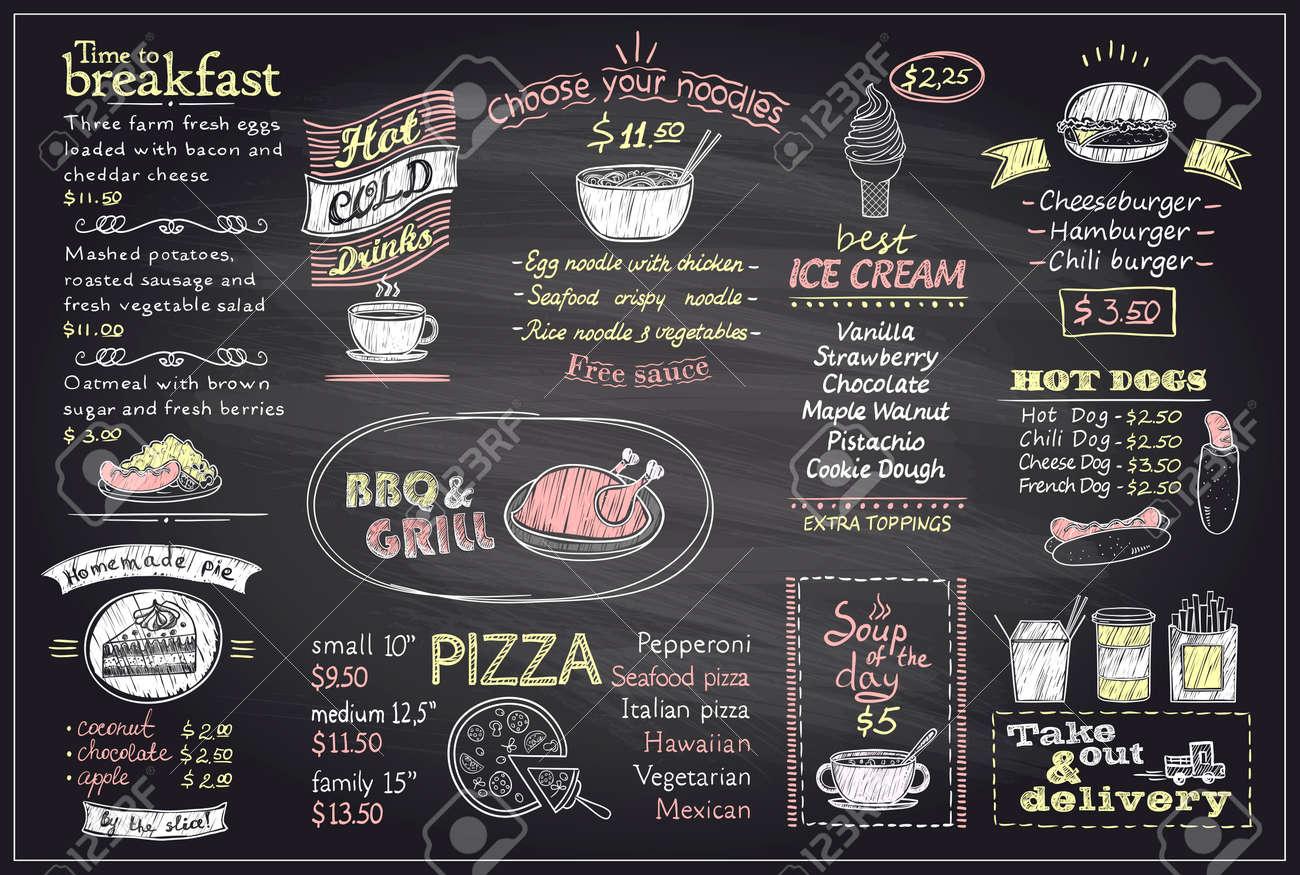 Chalk Menu List Blackboard Design For Cafe Or Restaurant, Breakfast And  Lunch, Fast