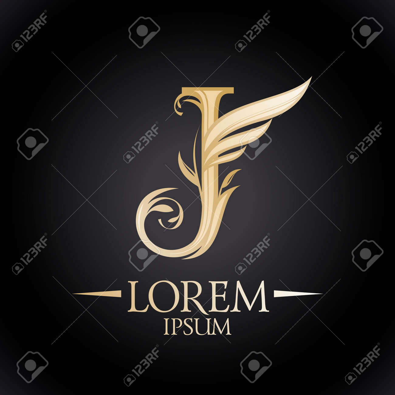 Golden Floral J Letter Symbol Icon With Wing And Curly Leaves