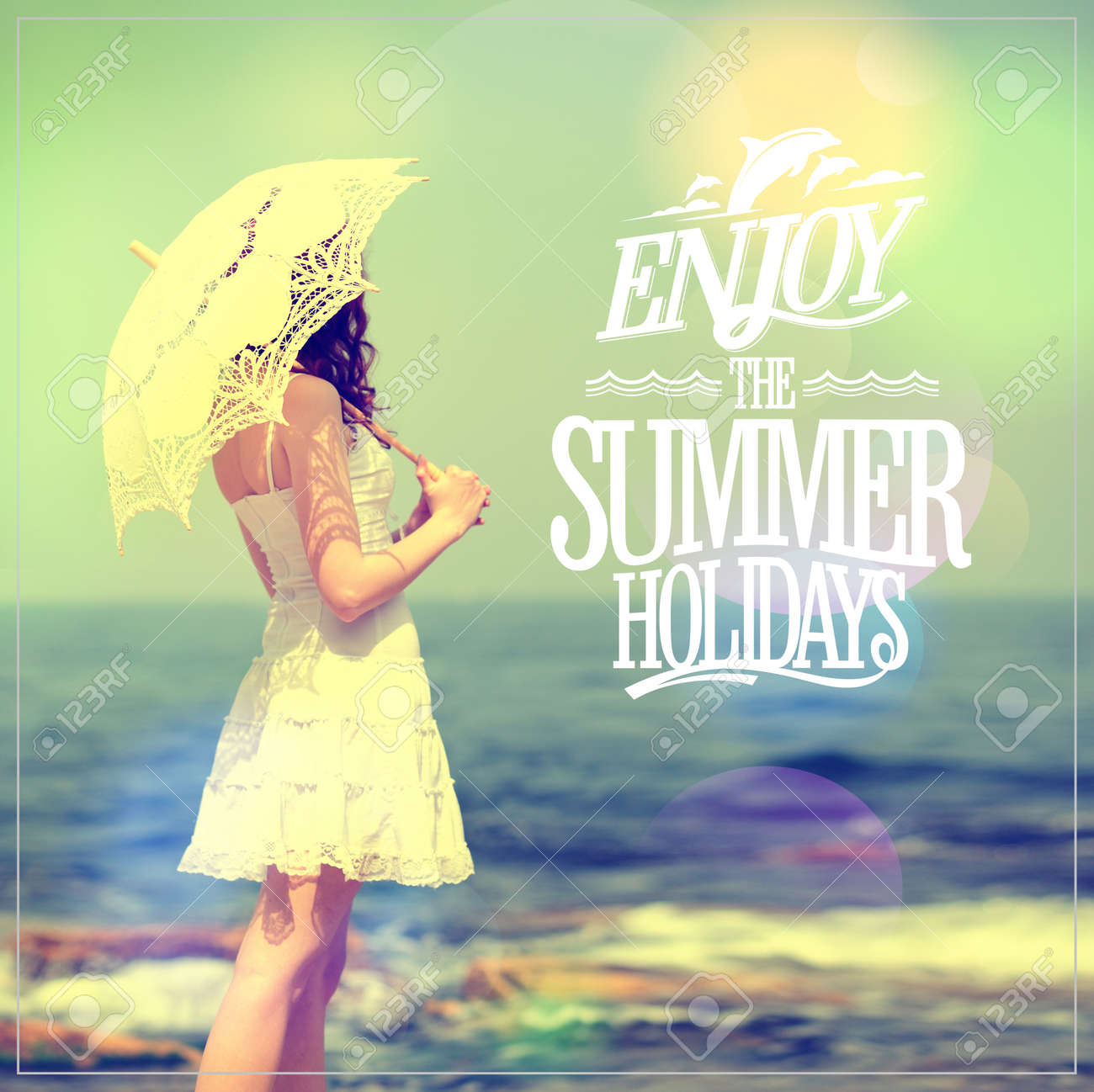 Enjoy The Summer Holidays Quote Card With Girl In White Dress Lacy Umbrella On A
