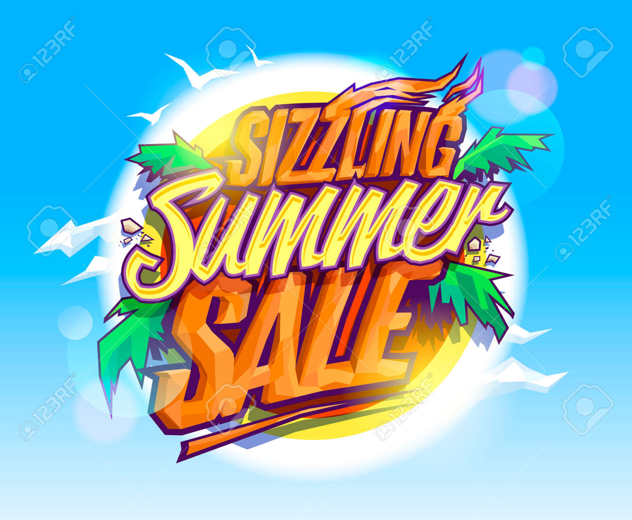 Sizzling summer sale, hot tropical design concept, sun, palms leaves and sky - 59799078