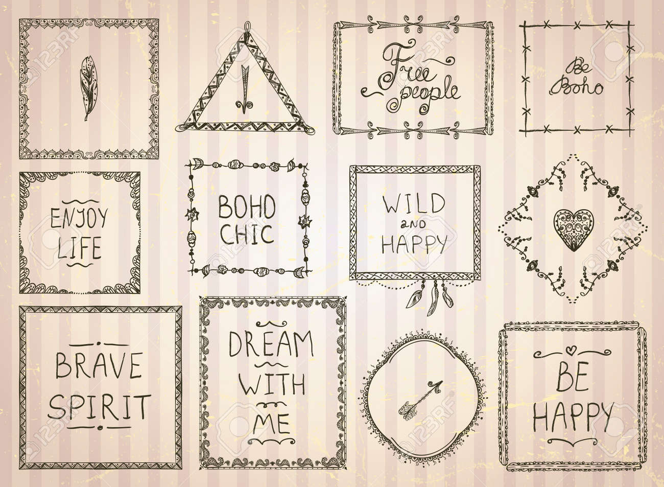 Fashion hand drawn sketch frames and philosophy quote phrases mega set in boho style, hippie, indie style, vector illustration - 61573640