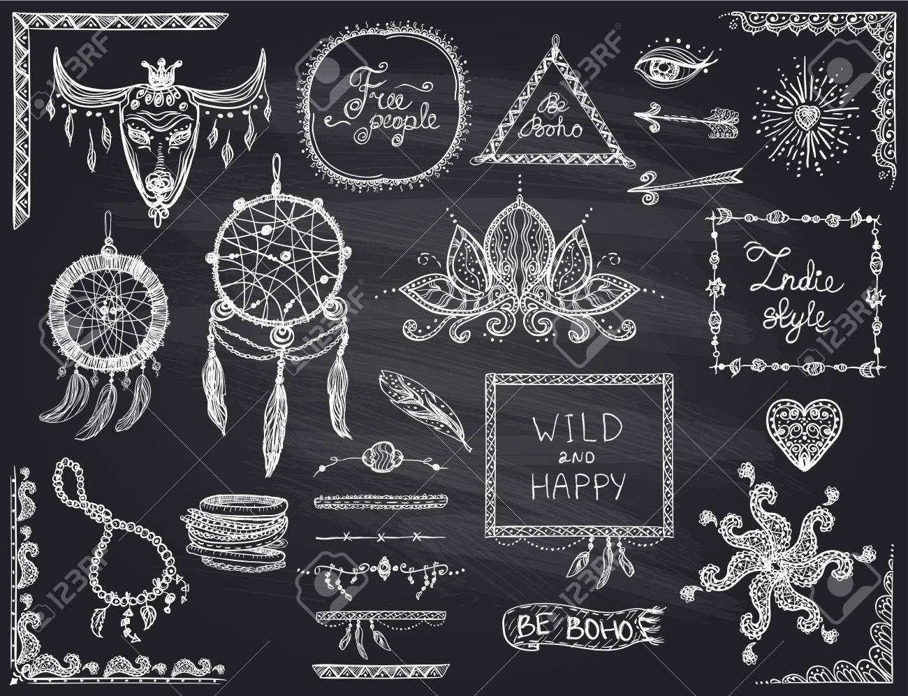 Tafel Handgezeichnete Skizze Elemente In Boho-Stil, Hippie, Indie ...