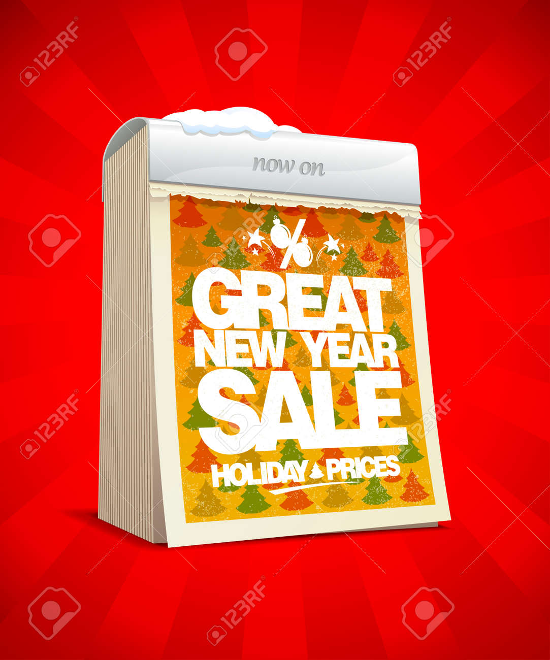 great new year sale banner tear off calendar winter holiday prices concept stock