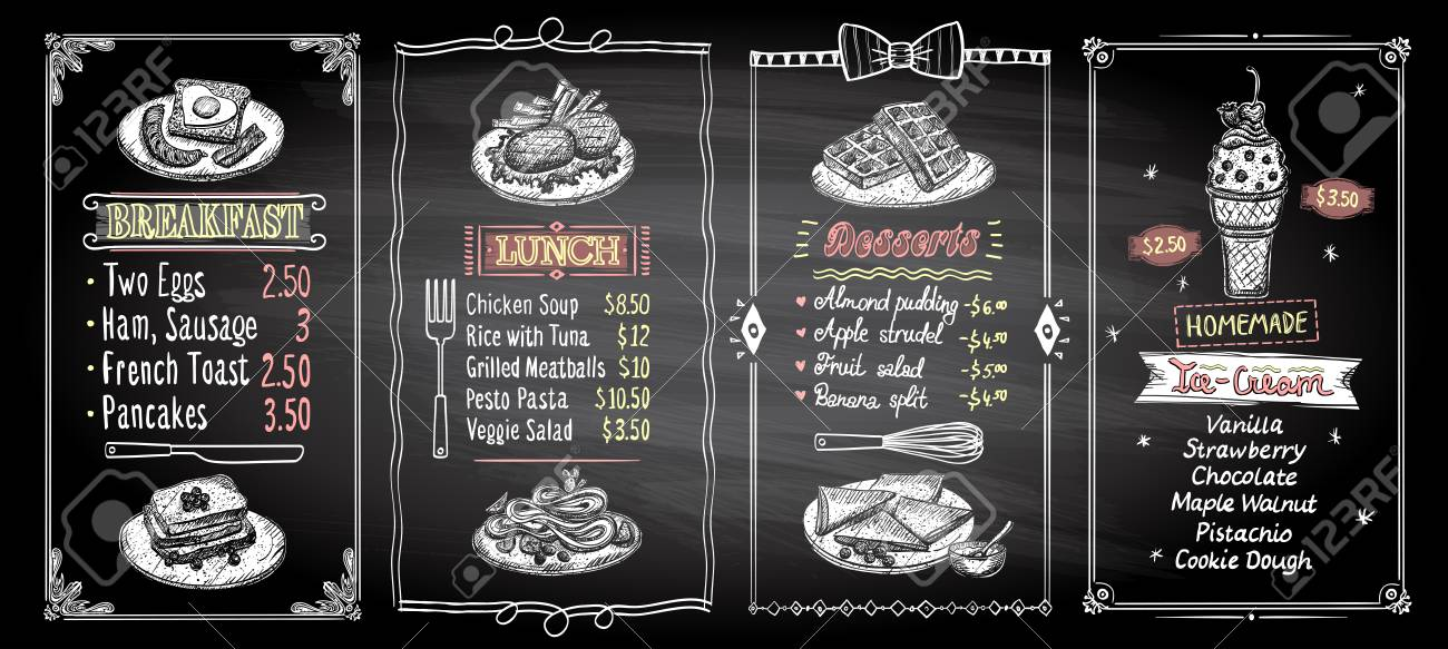 breakfast lunch desserts and ice cream chalkboard menu list
