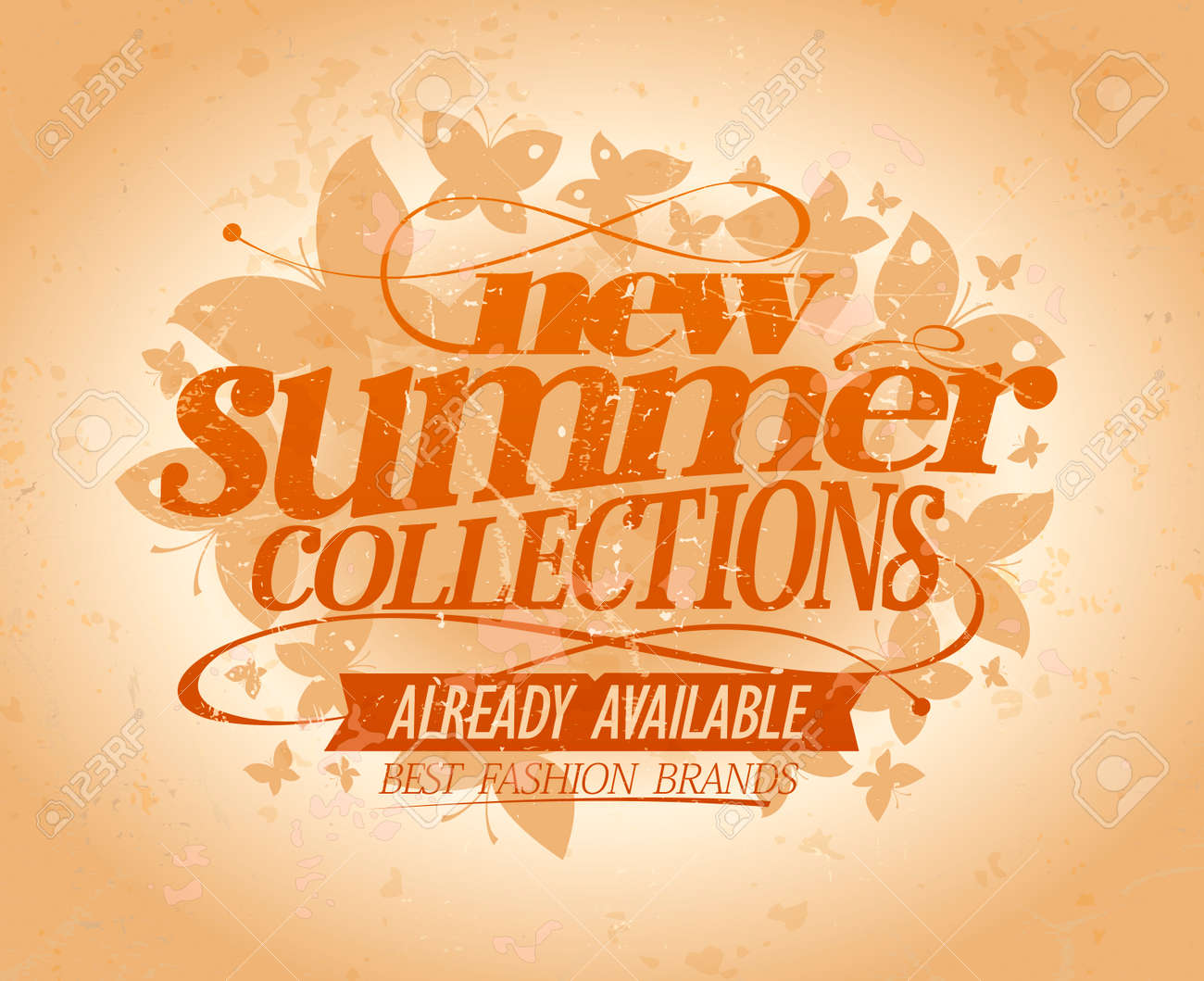 New summer collections vector design, best fashion brands, vintage..