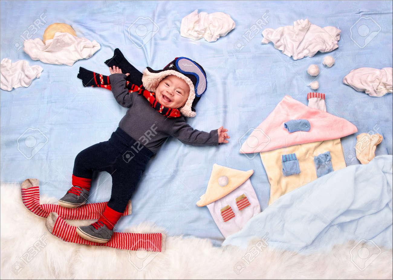 Happy Smiling Infant Baby Boy Skier 9f1da99ec84