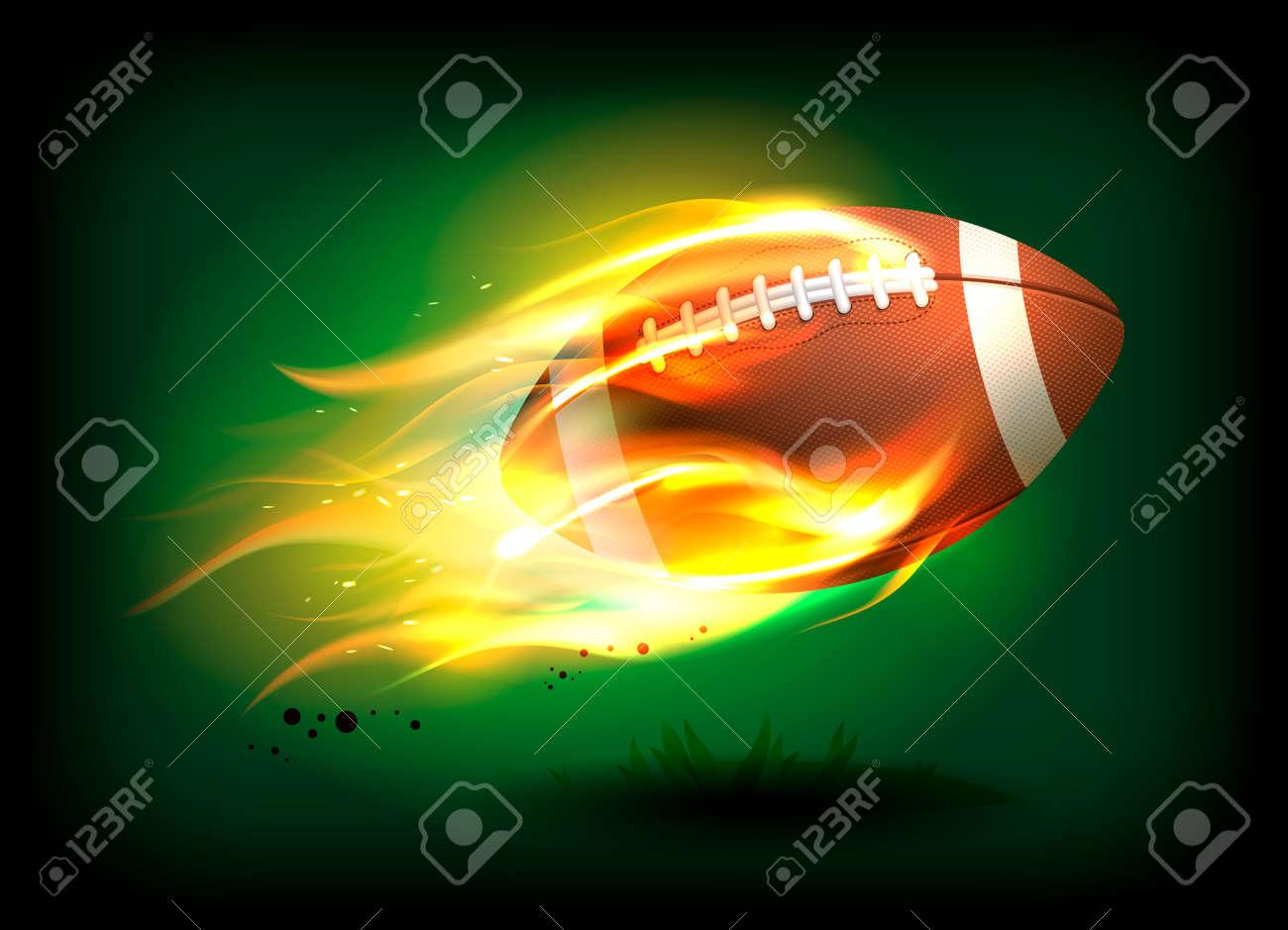 Foto de archivo - Ilustración de vector de una vieja pelota de rugby de  cuero clásico con cordones y costura en una llama ardiente 191e54fd82c2a