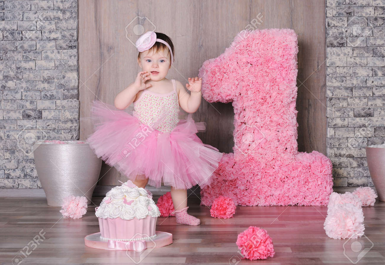 Peachy Cute Smiling Baby Girl In Pink Dress With Her First Birthday Funny Birthday Cards Online Alyptdamsfinfo