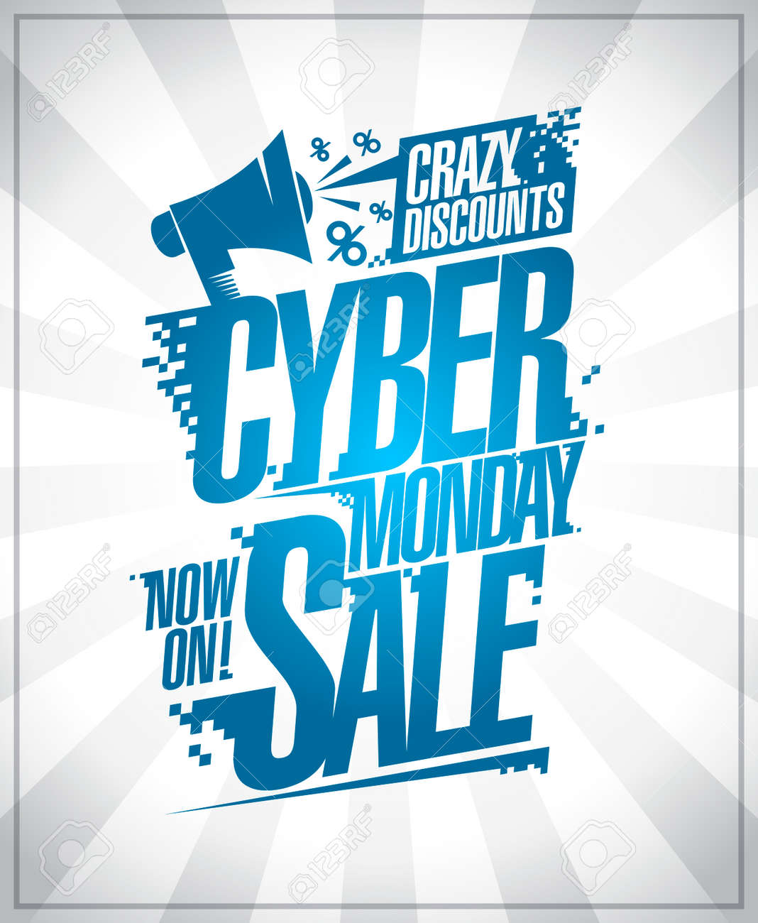 e07278a0073 Cyber Monday sale poster, crazy discounts with loudspeaker.