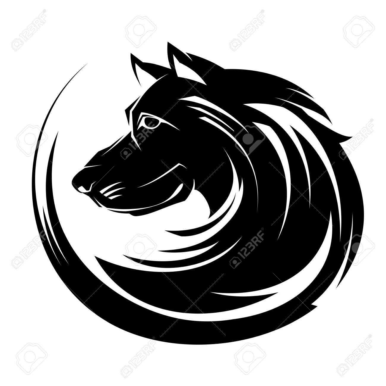 Dog Profile Portrait Illustartion Circle Tribal Tattoo Art