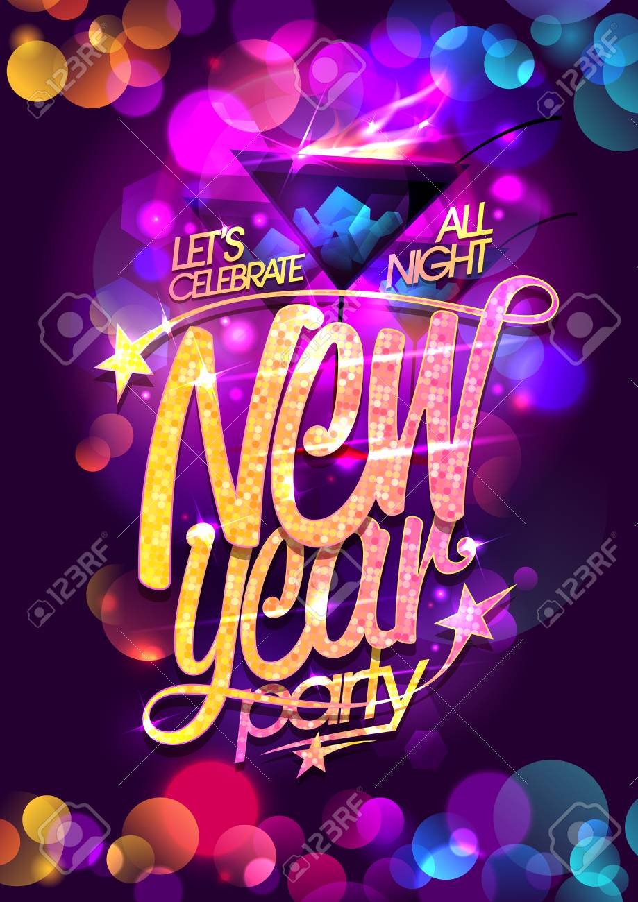 New year party vector poster design with burning cocktail and multicolored bokeh lights backdrop - 126931002