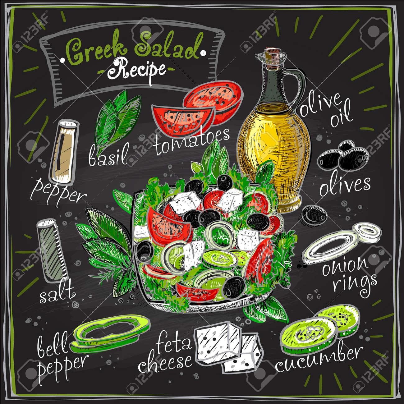 Greek salad recipe chalkboard design, salad menu with ingredients, vegetables set sketch - 123084870