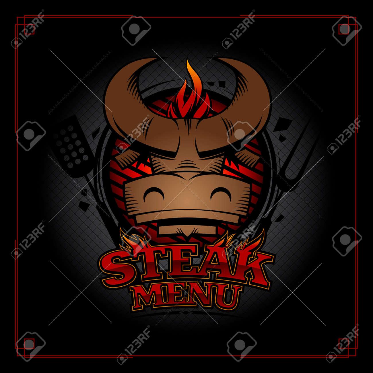 Steak Menu Cover Design Concept With Bull Head Barbecue Grill