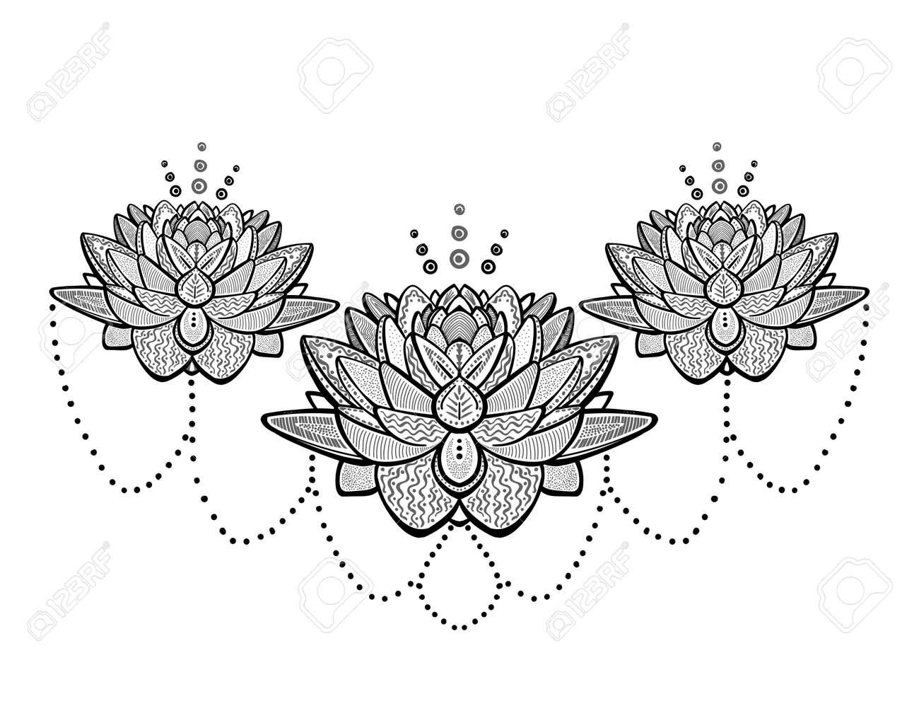 Lotus flowers ornamental tattoo sketch, vector illustration - 128503604