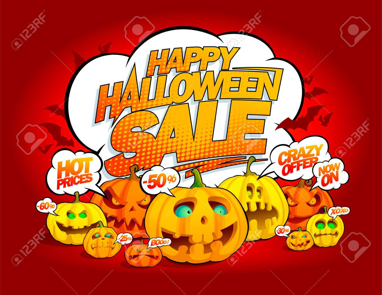 Grunge Halloween sale banner with ghost and pumpkin - Download Free  Vectors, Clipart Graphics & Vector Art