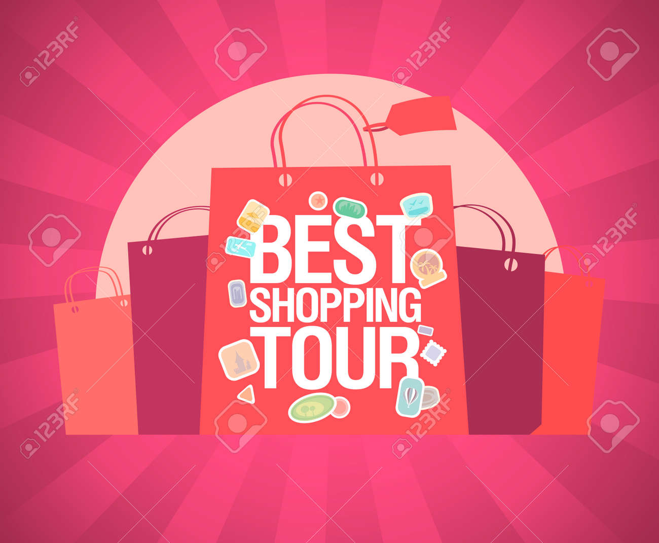 Best Shopping Tour Vector Banner Design Concept With Paper Bags Royalty Free Cliparts Vectors And Stock Illustration Image 128503689