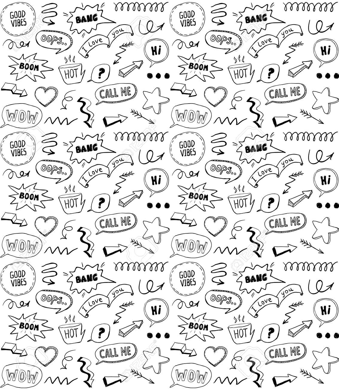 Black and white doodle style seamless pattern with comic style elements, hand drawn vector illustration - 131118232