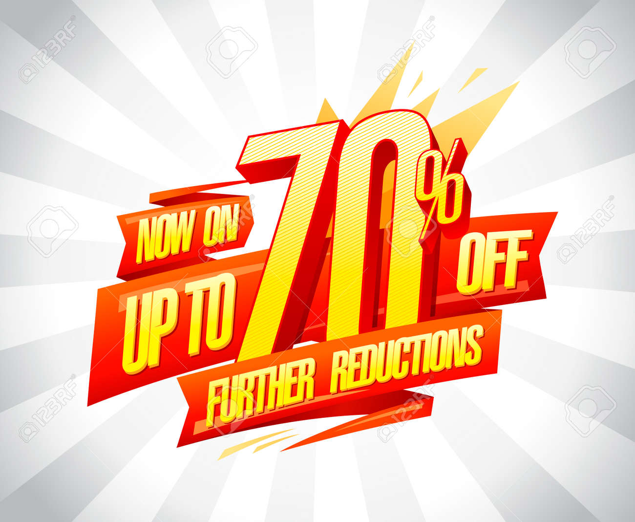 Up to 70% off, further reductions sale poster concept - 133944055