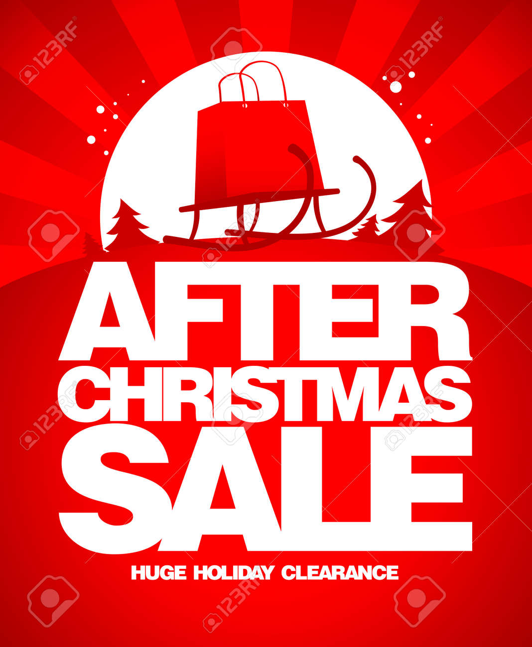 After christmas sale design template with shopping bag on a sled. - 158871840