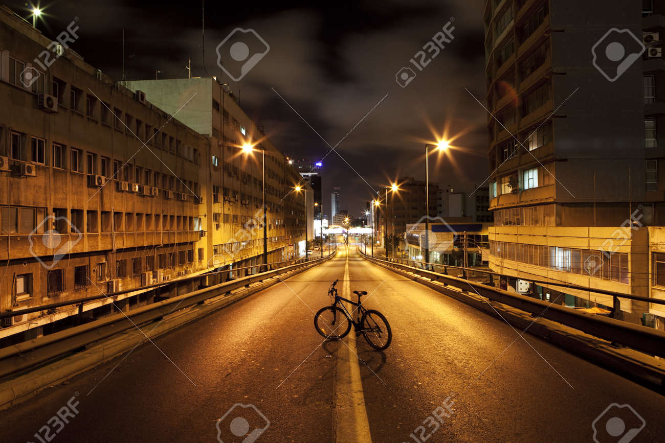 Dark street in Tel Aviv, Israel - 5656036