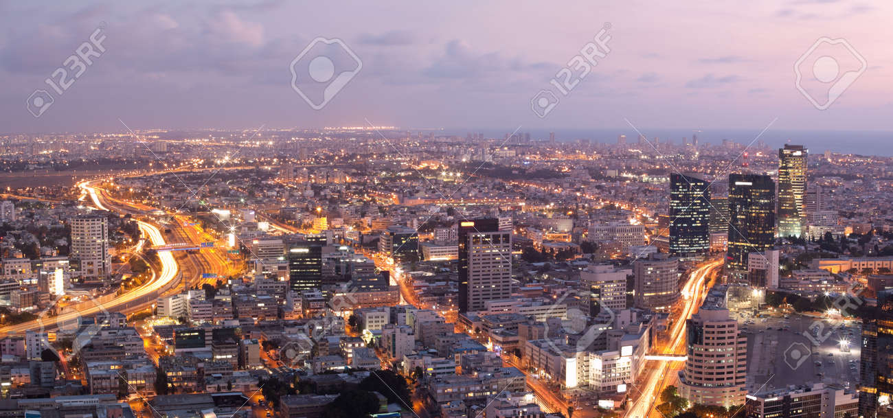 skyline tel aviv at sunset stock photo picture and royalty free