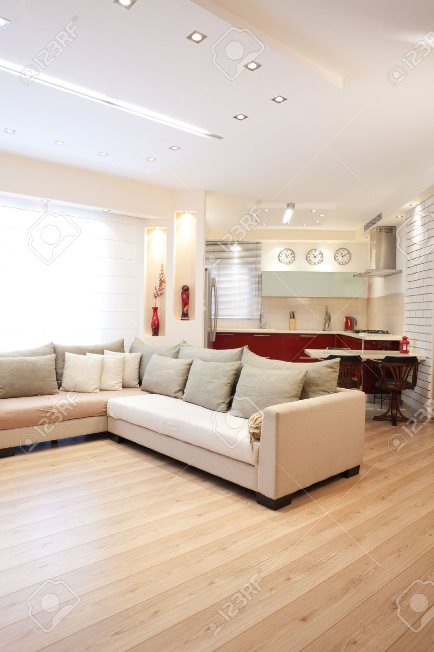 Modern Design Living Room And Kitchen White Red And Wood Elements ...