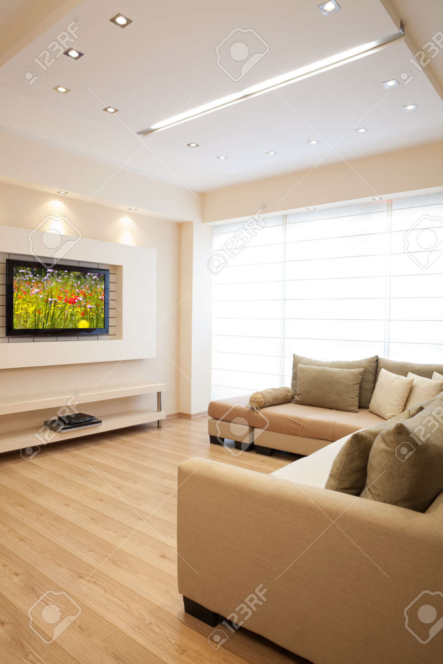 Modern room with plasma tv Stock Photo - 8004201