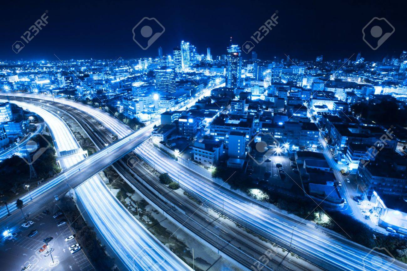 Aerial View Of Tel Aviv At Night - Tel Aviv Cityscape - 13647201